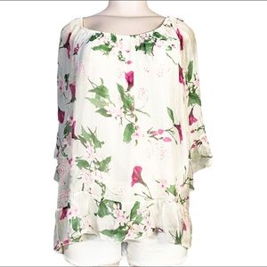 Belle France 'Tess' Silk White Floral Peasant Top